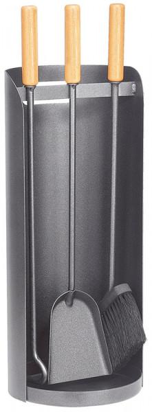 Kaminbesteck ROLLO-3 aus Stahl, 3- teilig, anthrazit