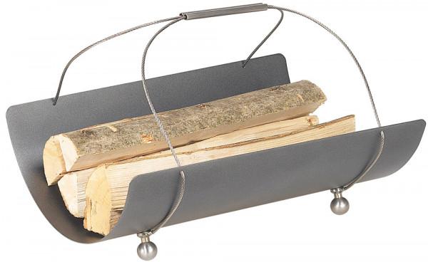Holzkorb COLLO-4 aus Stahl mit Trageseilen, anthrazit