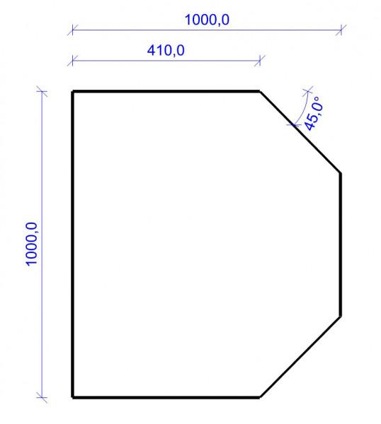 Kamin Bodenplatte, 2 mm Stahl, Sechseck 1000 x 1000 mm, hellgrau