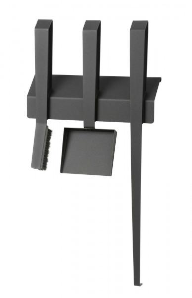 Kaminbesteck EDGE III, 3-teilig, wandhängend, Stahl, schwarz beschichtet