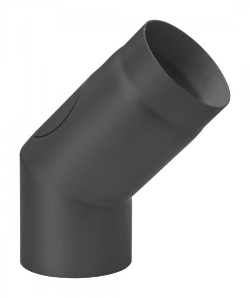 Rauchrohrbogen Stahl 45° Ø 150 mm schwarz mit Tür, lang-kurz