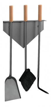 Kaminbesteck Lienbacher aus Stahl, 3- teilig, anthrazit beschichtet, 58 x 28 cm