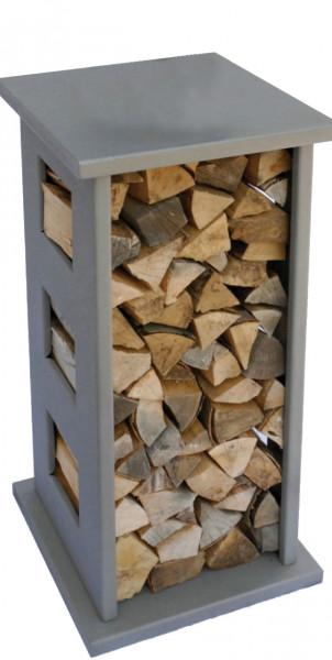Kaminholzregal Lienbacher aus Stahl, 91 x 39 x 39 cm, silbergrau