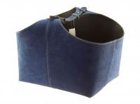 Holzkorb Wildleder, blau - SM98-223
