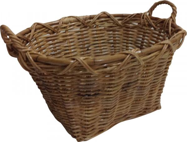 Holzkorb aus geflochtener Weide, braun, oval