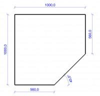 Kamin Bodenplatte, 6 mm ESG-Klarglas, Fünfeck 1000 x 1000 mm - SM30-600