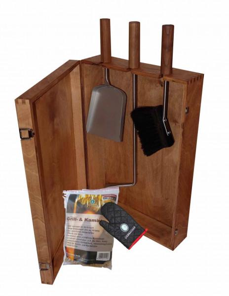 Kaminbesteck Set Heiße Kiste inkl. Holzkiste Nuss gebeizt, 6-teilig