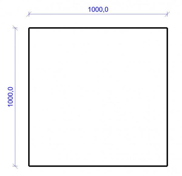 Kamin Bodenplatte, 2 mm Stahl, Quadrat 1000 x 1000 mm, hellgrau