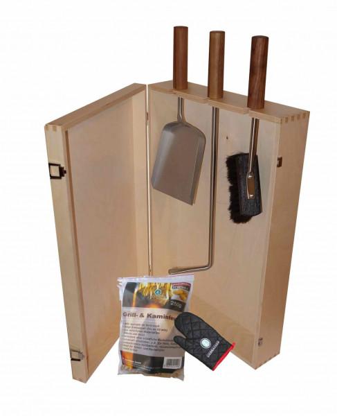 Kaminbesteck Set Heiße Kiste inkl. Holzkiste Natur lackiert, 6-teilig