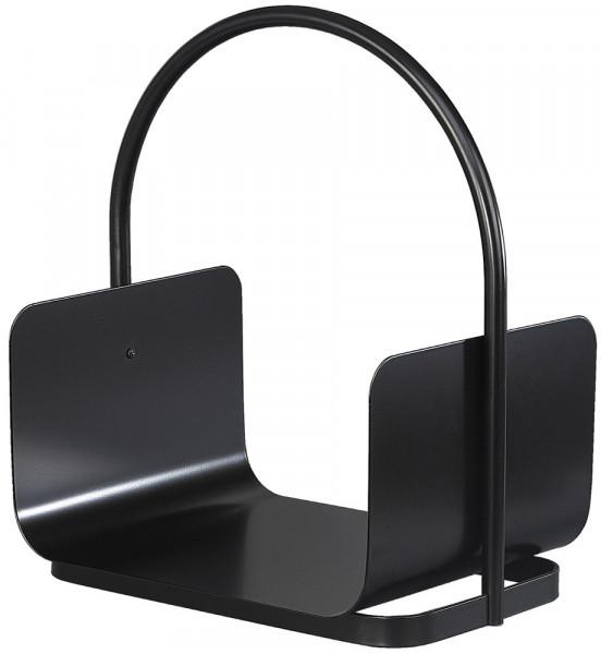 Holzkorb TIMBER-1 aus Stahl mit Tragegriff, schwarz