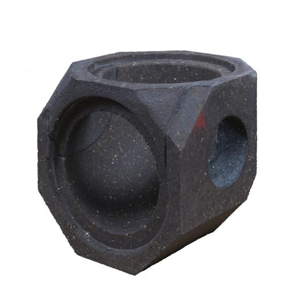 Keramik Modul Speicher 240 Bogen 90° Bohrung seitlich 240 mm x 240 mm x 240mm, Ø 160 mm