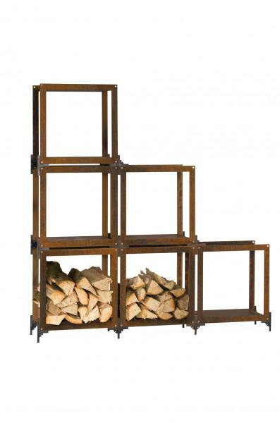 Brennholzregal Rost Stahl FRAME Feuercampus365