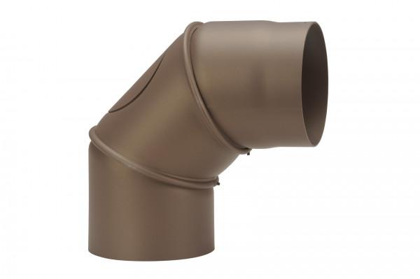 Rauchrohrbogen Stahl verstellbar 0-90° Ø 150 mm braun mit Putztür
