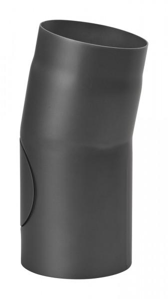 Rauchrohrbogen Stahl 11° Ø 150 mm schwarz mit Tür