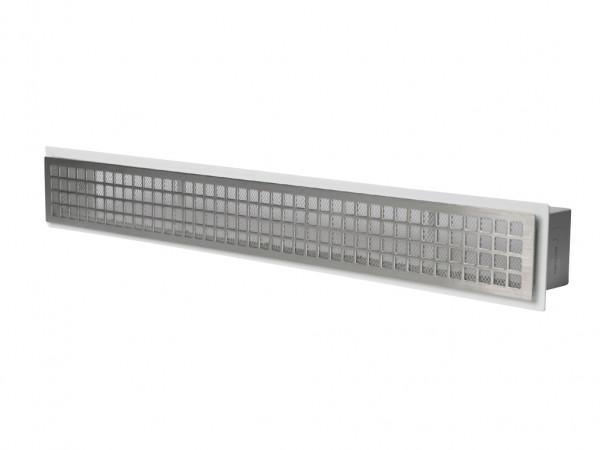 Design Luftleiste 55 cm mit Einbaurahmen Edelstahl