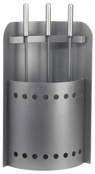 Kaminbesteck XILO-2 aus Stahl, 3- teilig, anthrazit