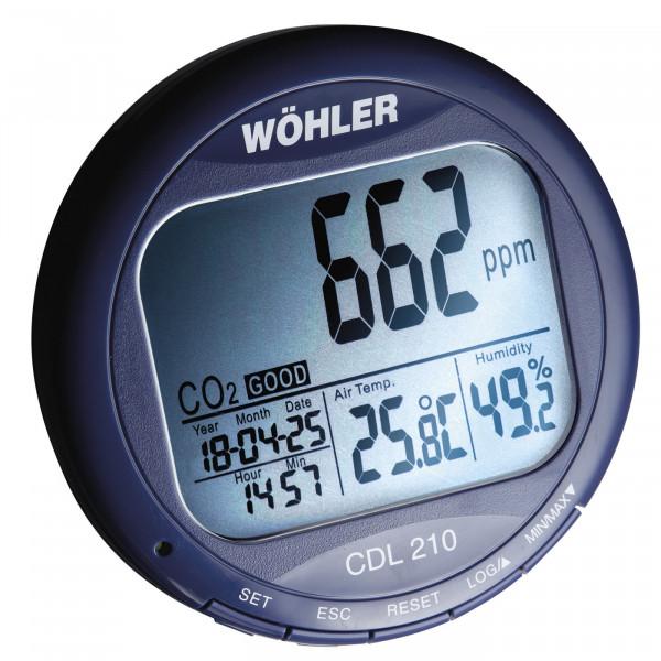 CO2 Messgerät Wöhler CDL 210 mit Temperatur- und Luftfeuchteanzeige