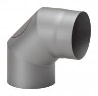 Rauchrohrbogen Stahl 2x 45° hellgrau mit Tür, kurz - SM15-255
