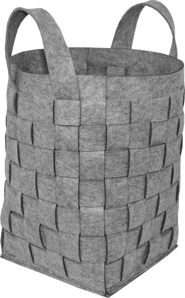 Holzkorb aus grauem Filz, Flechtoptik, 55 x 37 x 37 cm