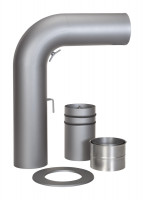 Schiebe-Rauchrohr Set Stahl 90° 700 x 532 mm Ø 150 mm hellgrau, gezogen - SM15-435