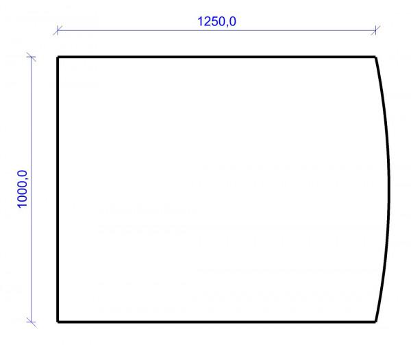 Kamin Bodenplatte, 2 mm Stahl, Segmentbogen 1000 x 1250 mm, hellgrau