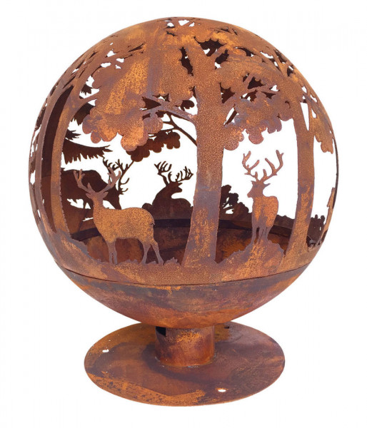 Feuerschale Rost Kugel, Ø 58 x 66 cm, Feuerball Hirsch