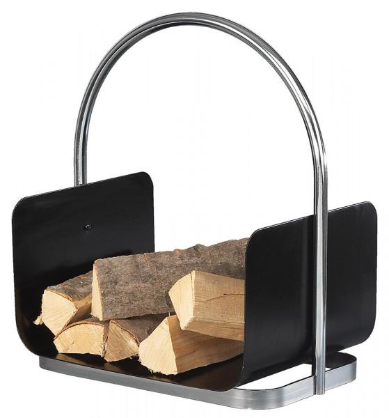 Holzkorb CROMO-1 aus Stahl mit Tragegriff, schwarz chrom