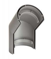 Hitzeschild doppelwandig für Rauchrohrbogen Stahl 45° hellgrau - SM15-691
