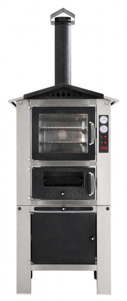 Holzbackofen MCZ Premium 80 für außen mit Ofenwagen und Dach