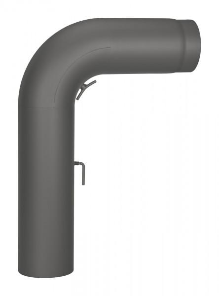 Anschlussrohr Stahl 90° 700 x 500 mm Ø 150 mm schwarz, gezogen, Tür, Drosselklappe