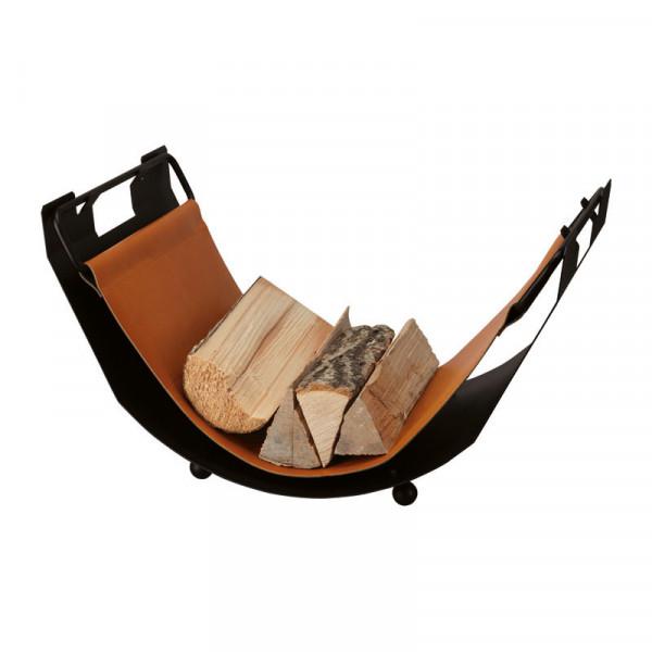 Holzliege TWIST aus Eisen, mit cognacfarbenem Leder