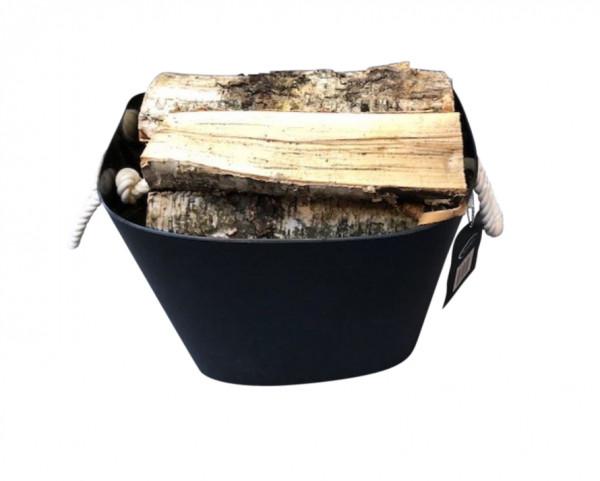 Holzkorb Kunststoff oval mit Seilgriffen, schwarz