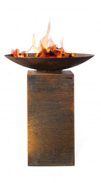 Feuerschale Rost Stahl mit Podest PIO 100 Feuercampus365