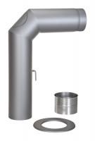 Rauchrohr Set Stahl 2x 45° 700 x 500 mm Ø 150 mm hellgrau - SM15-421
