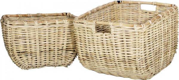 Holzkorb, natur, eckig, 2-teilig