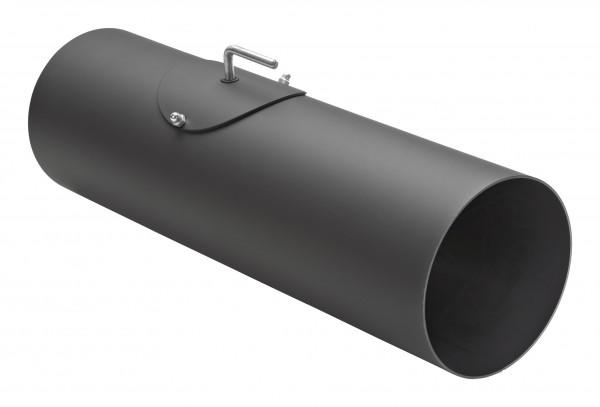 Rauchrohr Stahl 500 mm schwarz mit Tür, Drosselklappe, Kondensring