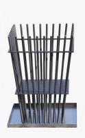 Ricon Feuerkorb 0780, Stahl geölt mit Auffangschale, 42 x 42 x 60 cm - SM0780
