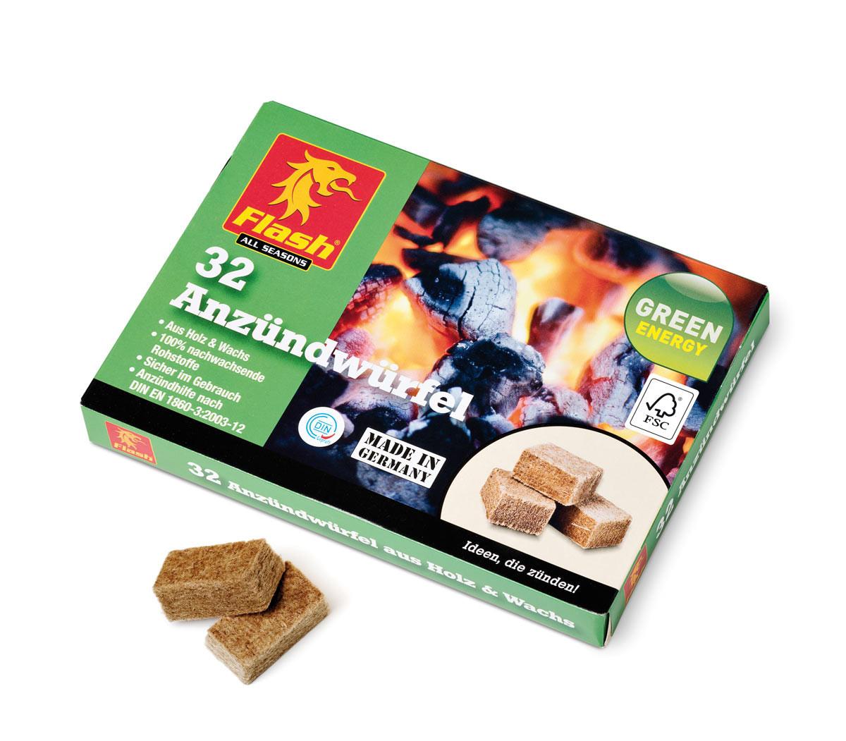 Boomex Kaminanzünder Holz Wachs, 32 Würfel