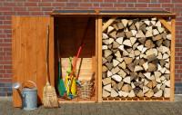 Brennholzregal SPEYER honigbraun mit Geräteschrank - SM513080
