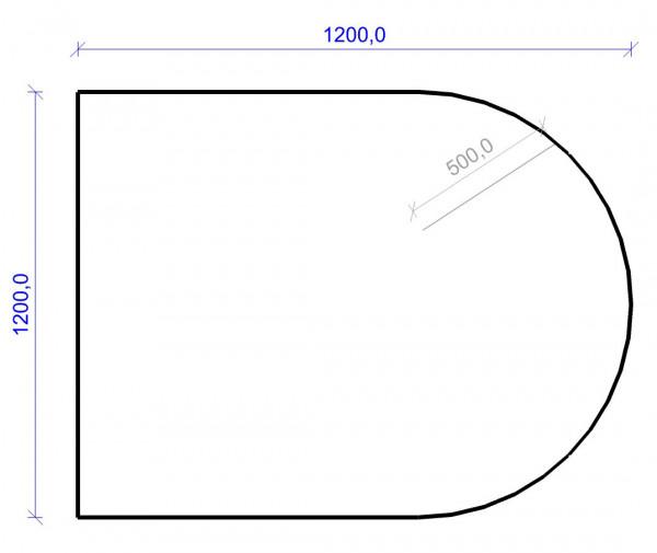 Kamin Bodenplatte, 6 mm ESG-Klarglas, Rundbogen 1200 x 1200 mm
