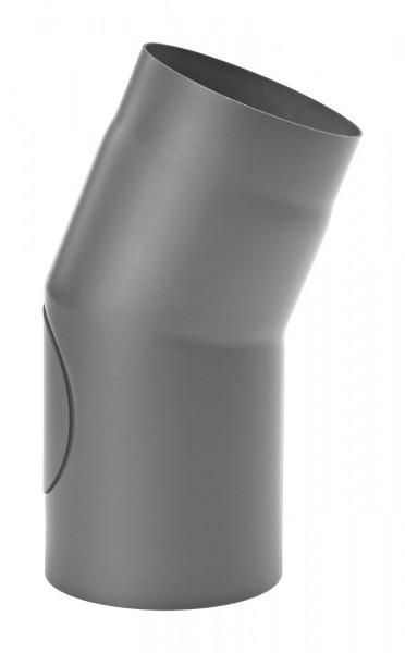 Rauchrohrbogen Stahl 22° Ø 150 mm hellgrau mit Tür