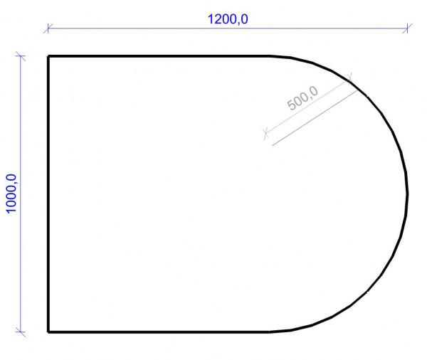 Kamin Bodenplatte, 6 mm ESG-Klarglas, Rundbogen 1000 x 1200 mm