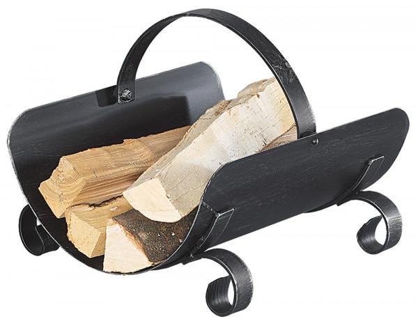 Holzkorb ENZIAN aus Schmiedeeisen, schwarz antik