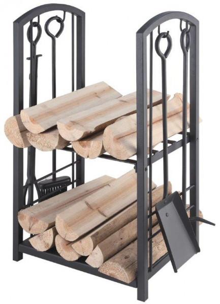 Holzkorb mit Kaminbesteck 4-teilig Lienbacher, Stahl schwarz