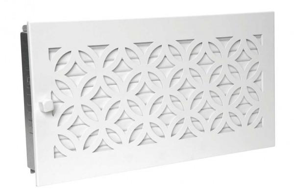 Warmluftgitter 45 x 23 cm mit Designblende weiß