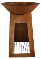 Feuerschale mit Sockel, rostig, 112 x 75 x 75 cm - SMFF170