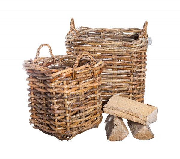 Holzkorb Naturrohr eckig mit Henkeln, 2-teilig