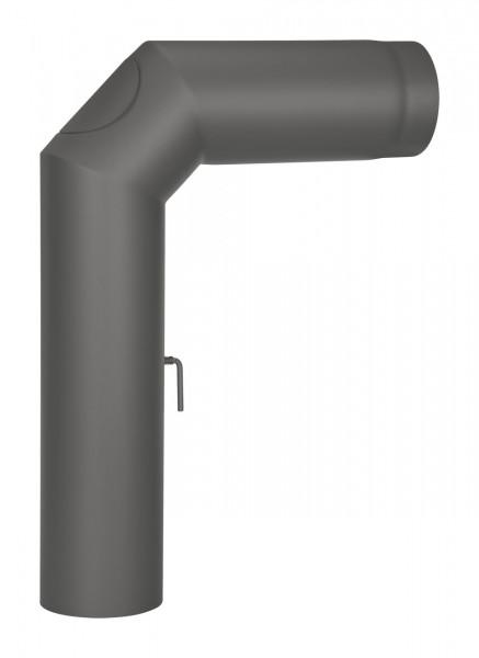 Anschlussrohr Stahl 2x 45° 700 x 500 mm schwarz mit Tür, Drosselklappe