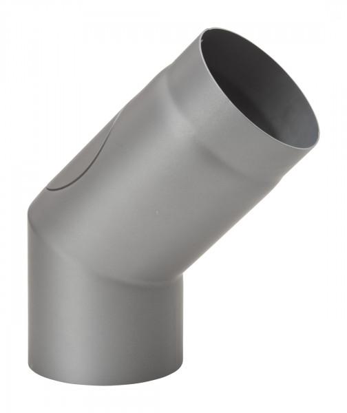 Rauchrohrbogen Stahl 45° Ø 150 mm hellgrau mit Tür, lang-kurz