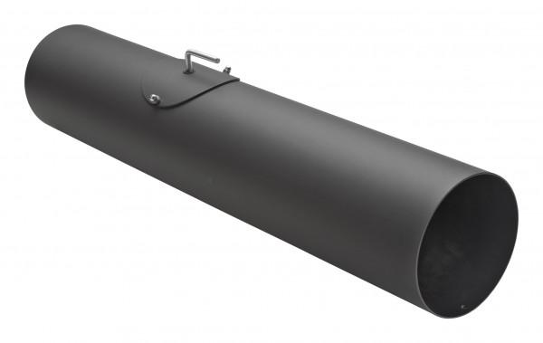 Rauchrohr Stahl 750 mm schwarz mit Tür, Drosselklappe, Kondensring